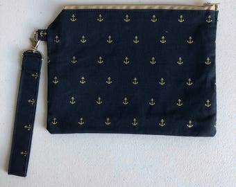 Navy with gold anchors small zippered pouch