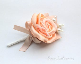 Peach Blush Rose Boutonniere/ 8 available/ mens Lapel Pin/ Handmade Wedding Accessory