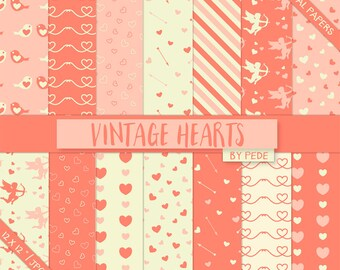 Vintge hearts digital paper, love digital papers, valentine patterns, cupid, love birds, valentine day, romantic, download