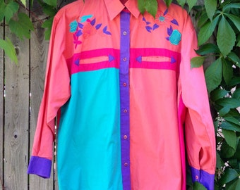 Women's Western Shirt, 80s Mahan Embroidered Yoke, Colorblock in Coral, Teal, Purple, Fuscia, M