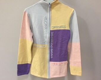 SALE Vintage Sweater, Zip Cardigan Sweater, Yellow Purple Color Blocking, Beaded Vintage Cardigan, Zip Up Sweater Jacket Vintage 80s S