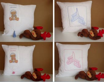 Embroidered pillow case baby / teddy / pompom / customizable / first name / cross stitch / bear / teddy / slipper / boy / girl / baby shower