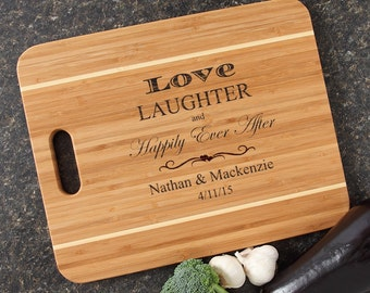 Personalized Wedding Gift Cutting Board Engraved Bamboo Cutting Board Housewarming Gifts Happily Ever After-15 x 12 Handle D26