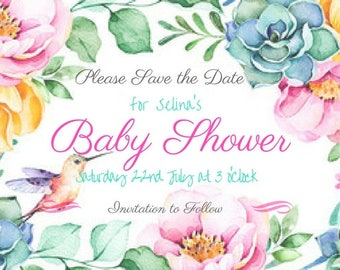 Floral Watercolour Baby Shower Save The Date Printable