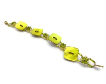 Yellow and Green Pearl button bracelet