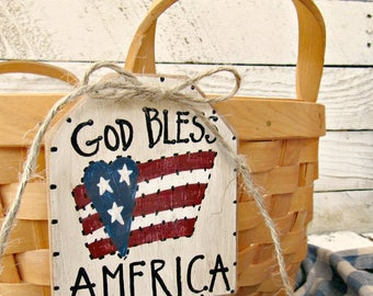 God Bless America Basket Tag, 4th of July Decorations, Patriotic Wood Tags, Rustic American Flag, Primitive Americana Decor