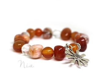 Twilight - gemstone bracelet with sunflower pendant