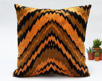 Velvet Pillow 16x16, decorative couch pillow cover in orange and black handmade from vintage upholstery fabrics by EllaOsix