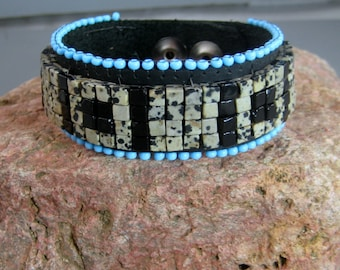 Gemstone beaded Leather bracelet, contemporary Native American design, gift for him, mens beaded bracelet, dalmantiner gemstone bracelet