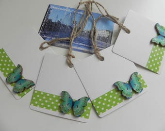 4 labels/markings glass square 6 cm BUTTERFLIES design