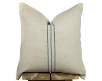 Grain Sack Pillow Cover   Modern Farmhouse Collection   Blue Stripe