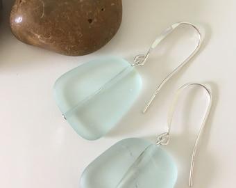 Sterling Silver Sea Glass Earrings- Seafoam Dangle