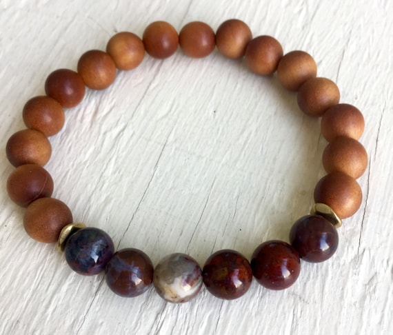 Red Lightning Agate and Sandalwood stretch Mala Bracelet, Stackable Easy to wear Yoga and Spiritual Jewelry