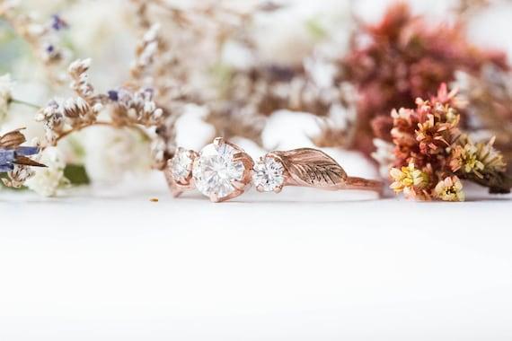 14k gold moissanite leaf engagement ring, moissanite three stone twig engagement ring, 14k gold twig engagement ring,moissanite twig ring