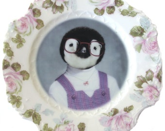 "Penelope der Pinguin, Schulportrait Platte 7,75"""