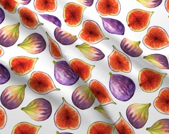 Fun Fig Fabric - Figs By Svetlana Prikhnenko - Watercolor Summer Fig Cotton Fabric By The Yard With Spoonflower