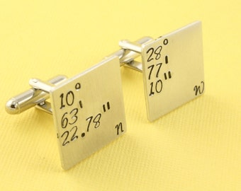 Coordinates Cufflinks - Latitude and Longitude Cufflinks - Custom Square Cuff Links - Father's Day Gift -Silver Cufflinks-Address Cuff Links
