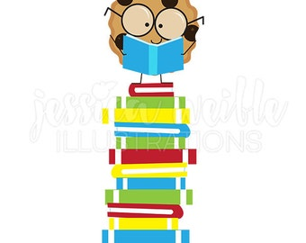 Smart Cookie on Book Stack Cute Digital Clipart, Reading Clip art, Student Reader Graphics, Cookie reading stack of books Illustration, #488