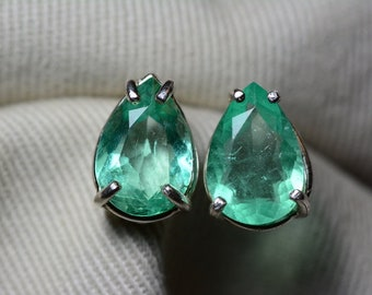 Emerald Earrings, Colombian Emerald Stud Earrings 3.91 Carats, Appraised 3,100.00 Sterling Silver,Genuine Natural, May Birthstone, Pear Cut