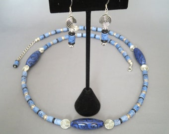Ceramic focal bead Necklace and Earrings Set