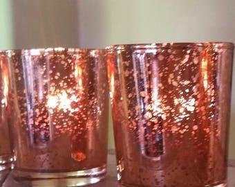 24 Gorgeous Mercury Glass Rose  Gold Votive Candle Holder  2.5 H Speckled votives  Bulk Weddings, Parties, & Home Decor