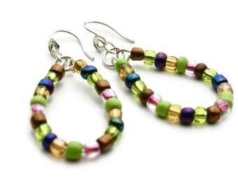 Multicolored Beaded Teardrop Oval Earrings, Multicolored Beaded Teardrop Hoop Earrings, Seed Beads, Part of a Set, Silver Ear Wires