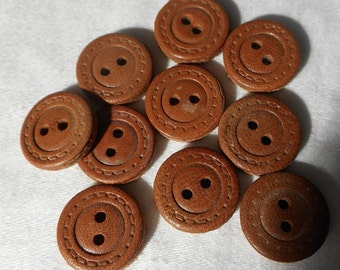 Set of 10 VINTAGE Small Sew Thru Brown Leather BUTTONS