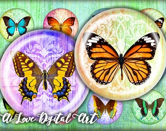 "Butterfly printable downloads, digital collage sheets 1.5"", 30mm, 1 inch circle bottle cap images, instant download cabochon, jewelry making"