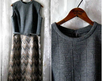 SALE!  Belted Gray Zig Zag Dress Vintage 1960s