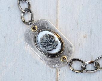 Rustic Soldered Glass Bracelet. Boho. Rustic . Rhinestone Soldered. Rose .Bracelet. Boho .