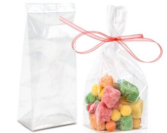 Short  Crystal Clear Bags . 100  bags, High Clarity Bags,   Flat Bottom Gusset Bags Heat Sealable