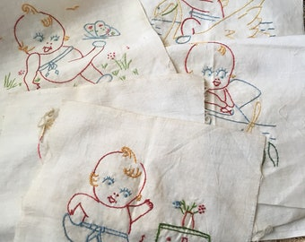 Somebody Make Something Adorable With These Antique Needlework Kewpie Quilt Squares
