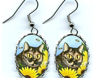 Cat Earrings Tortoiseshell Tortie Cat Sunflower Bees Fantasy Cat Art Cameo Earrings 25x18mm Gift for Cat Lovers Jewelry