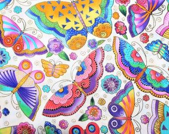 Laurel Burch Rare Oop FLYING COLORS II Large Butterflies on Cream Fabric - By The Half Yard
