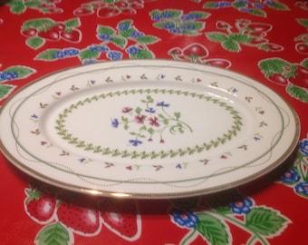 Vintage hand painted ceramic I. Godinger & Co. Floral platter