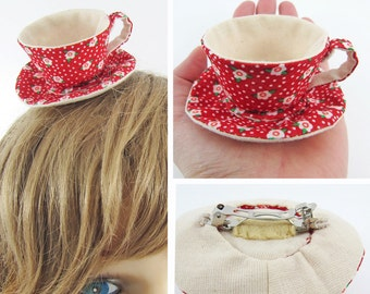 MADE-TO-ORDER ( 1 - 2 Weeks)  Miniature Teacup Hair Slide-Floral & Spots on Red