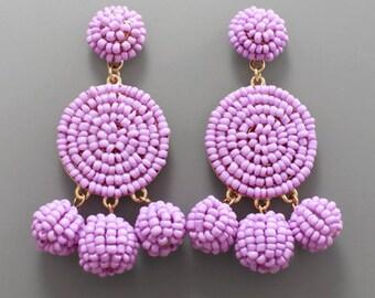 Lavender Seed Bead Disk Drop Earrings