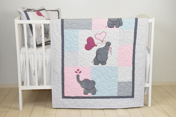 Baby Girl Blanket, Pink Gray Elephant Quilt, Blue Crib Bedding, Safari Nursery, Girl Baby Bedding Set, Crib Blanket