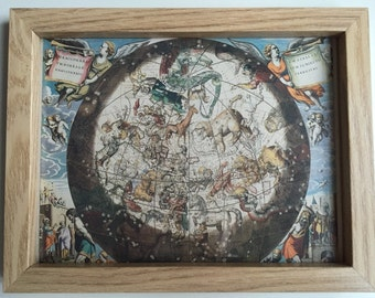 Framed Celestial Star Sign Map, vintage print of antique map of the stars