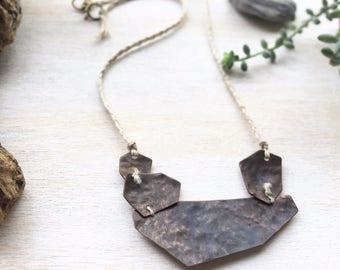 Strata I. Copper Geometric Necklace.