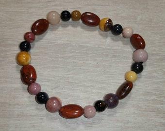 Mookaite / Red Jasper and Snowflake Obsidian Bracelet