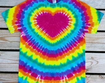 Women's Rainbow Heart Tie Dye TShirt,  S M L XL XXL 3XL, Women's Tie Dye Shirt, Festival Shirt