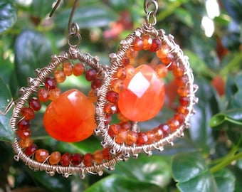 MYSTICAL FEELINGS  - Sterling earrings - Carnelian, Hessonite Garnets, Handmade Thai Pure Silver Beads