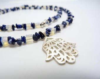 Long chain of Blue sodalite and Opalit with Hamsa pendant, Fatima's hand
