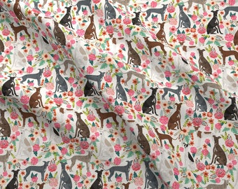 Greyhound Fabric - Italian Greyhound Florals Dogs  Flowers - Off-White By Petfriendly - Whippet Cotton Fabric by the Yard with Spoonflower