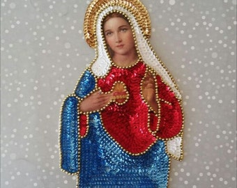Sacred Heart Virgen Maria, Milagro Sacred Heart sequin patch, Mexican Sagrado Corazon Holly Mary, Flaming Heart Applique, Guadalupe Virgin