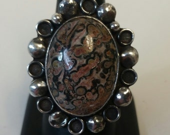 Leopardskin Jasper and Sterling Silver Statement Ring size 7.5