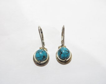 Vintage Turquoise / Sterling Silver Dangle Earrings