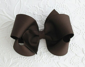 """4"""" Brown Boutique Hair Bow, Girls ~ Toddler Brown Boutique Hair Bow, Thanksgiving Hair Bow"""