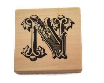 Letter N Rubber Stamp, Letter N Monogram, N Initial Rubber Stamp, Wood Mounted Rubber Stamp